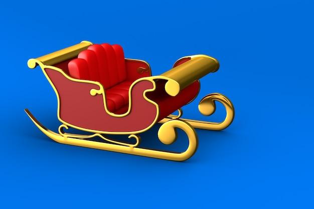 Trenó de natal vermelho sobre fundo azul. ilustração 3d isolada