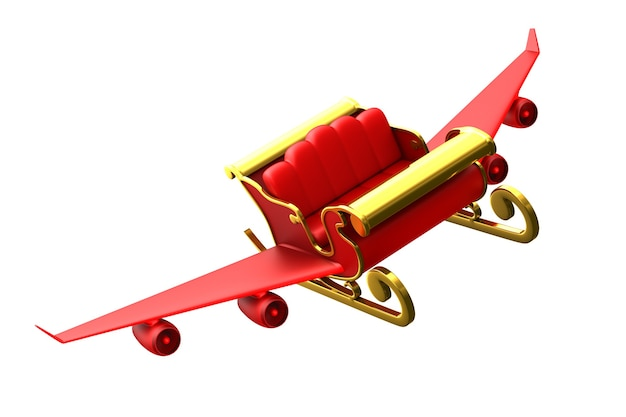 Trenó de natal vermelho sobre fundo branco. ilustração 3d isolada