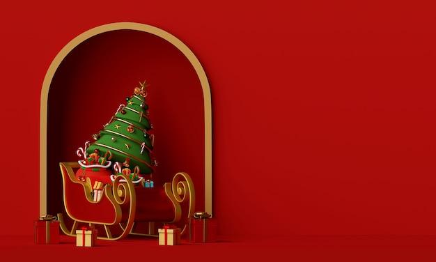 Trenó do papai noel com árvore de natal cheia de caixa de presente renderização em 3d