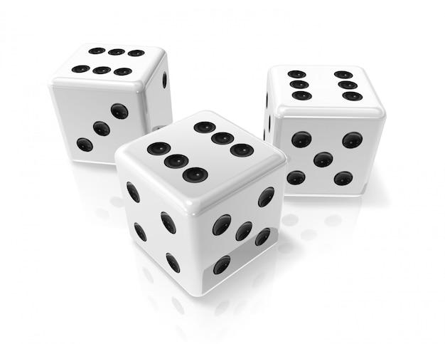 Três 3d branco vitória dices isolado no branco