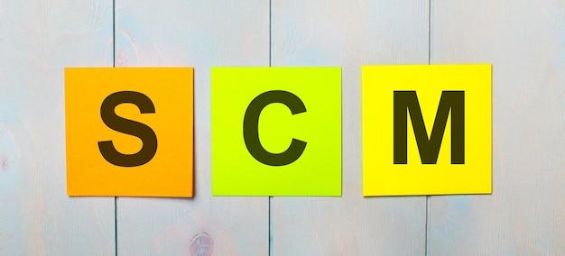 Três adesivos coloridos com o texto scm supply chain management