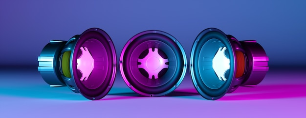 Três alto-falantes olhando um para o outro em uma luz de néon, ilustração 3d