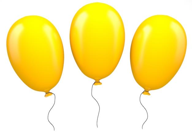 Três balões amarelos