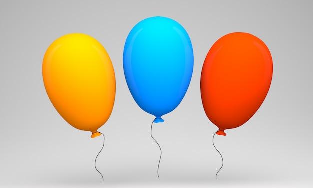 Três balões coloridos