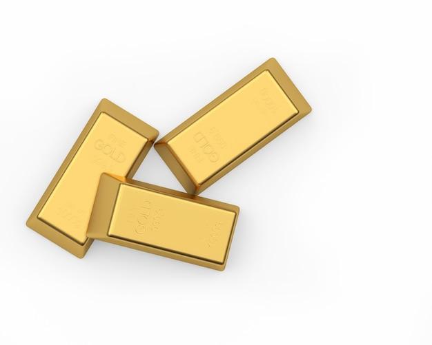 Três barras de ouro em um fundo claro