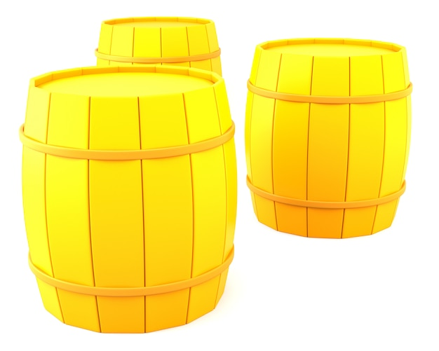 Três barris amarelos