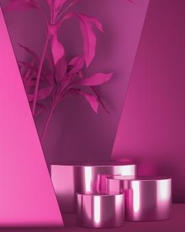 Três bases cilíndricas roxas brilhantes na cena e a árvore roxa, maquete abstrata para a marca dos anúncios e apresentação do produto. renderização 3d
