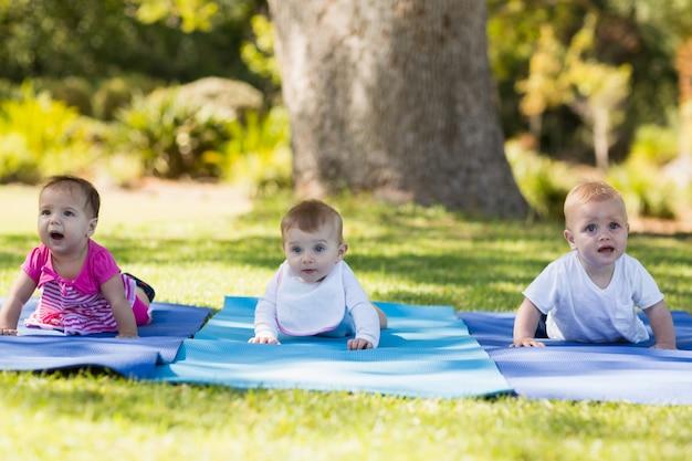 Três bebês engatinhando no colchonete