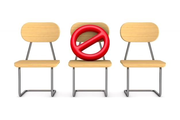 Três cadeiras de madeira e placas de sinalização proibidas. distanciamento social. renderização 3d isolada