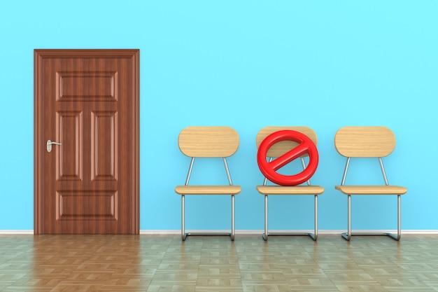 Três cadeiras de madeira e placas de sinalização proibidas. distanciamento social. renderização 3d