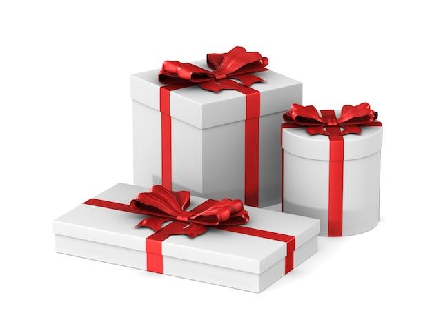 Três caixas brancas com laço vermelho no espaço em branco. ilustração 3d isolada