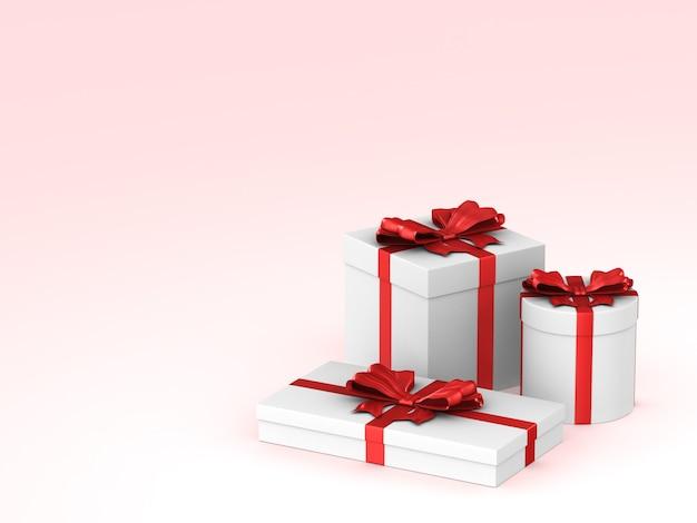 Três caixas brancas com laço vermelho no espaço rosa. ilustração 3d isolada