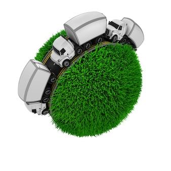 Três caminhões em uma esfera gramínea