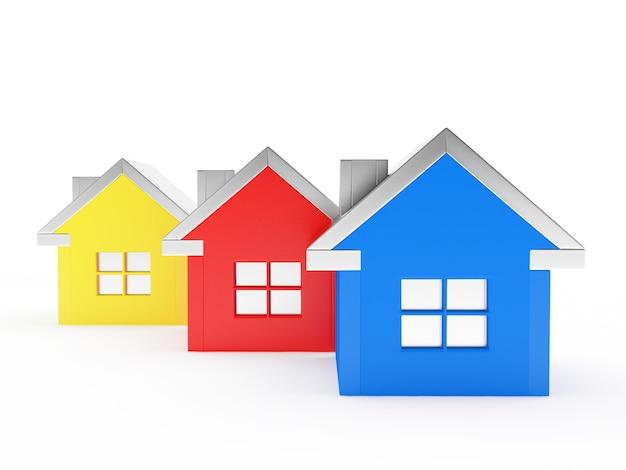 Três casas coloridas