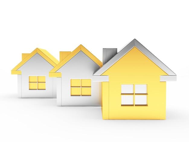 Três casas de ouro e prata