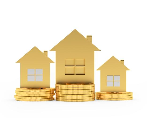 Três casas douradas em diferentes pilhas de moedas