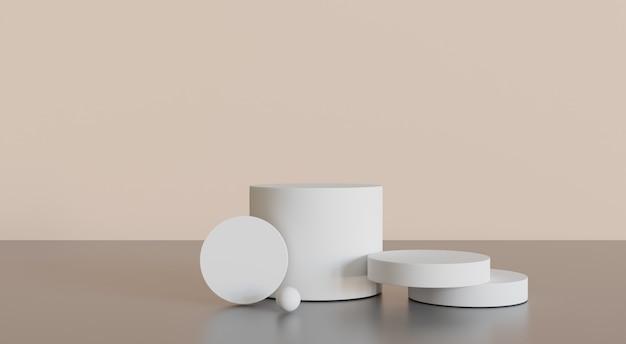 Três cenas de maquete minimalistas de pódio branco para cosméticos ou outro produto, ilustrações em 3d