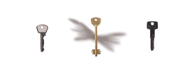Três chaves de apartamento em um fundo branco, uma com sombra de asas voando chaves conceito imobiliário