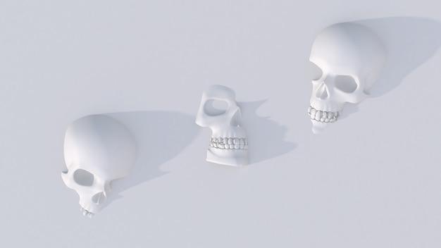 Três crânios brancos. ilustração abstrata,