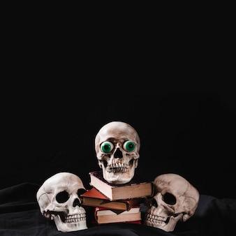 Três crânios e pilha de livros sobre fundo preto