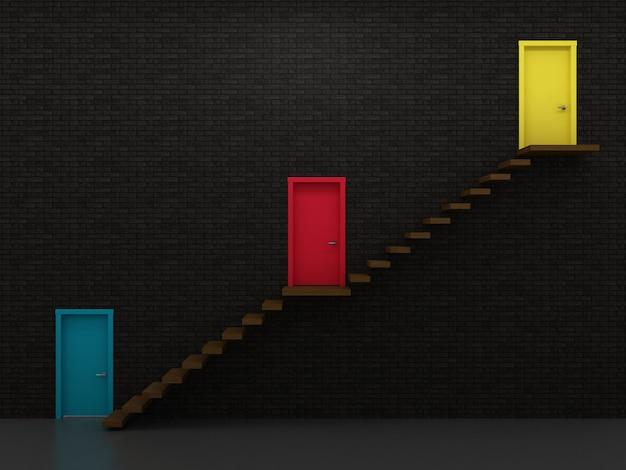 Três entradas de porta multi-coloridas em diferentes níveis, gráfico de crescimento.