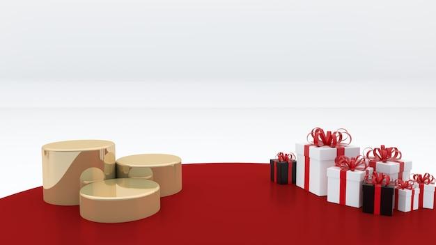 Três esferas douradas sobre um fundo vermelho. caixas de presente para comemorar