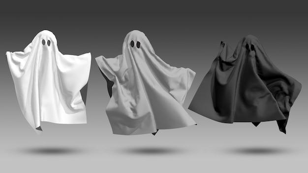 Três fantasmas branco cinza preto em um fundo preto renderização 3d