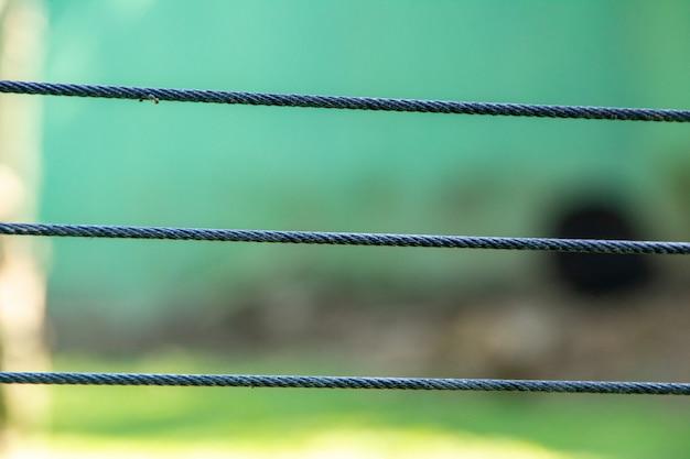 Três fios de cabo de aço