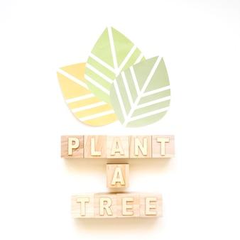 Três folhas e plantar uma árvore palavras