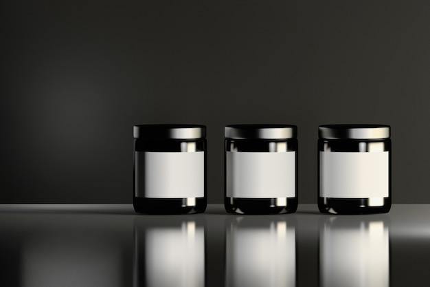 Três frascos cosméticos pretos brilhantes semelhantes com etiquetas brancas que estão na superfície brilhante reflexiva. design de embalagem de produtos de beleza.