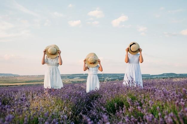 Três meninas com chapéus em um campo de lavanda