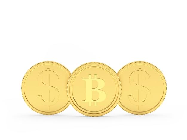 Três moedas de ouro com sinal de dólar e bitcoin