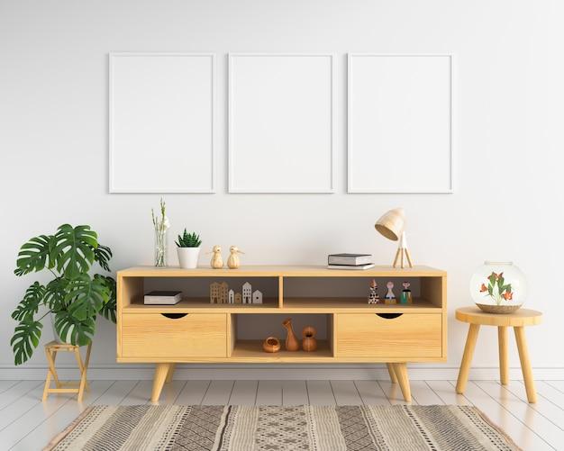 Três moldura de foto em branco e aparador