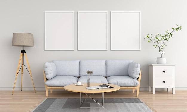 Três moldura vazia em branco na sala de estar
