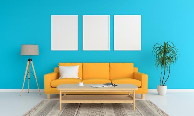 Três molduras em branco para maquete na sala de estar