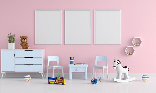 Três molduras em branco para maquete no quarto de criança