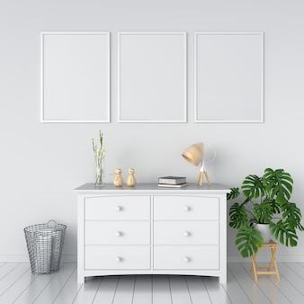 Três molduras em branco para maquete