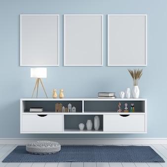 Três molduras para fotos em branco na sala de estar, renderização em 3d