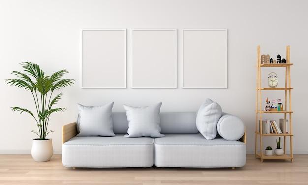 Três molduras vazias na sala de estar