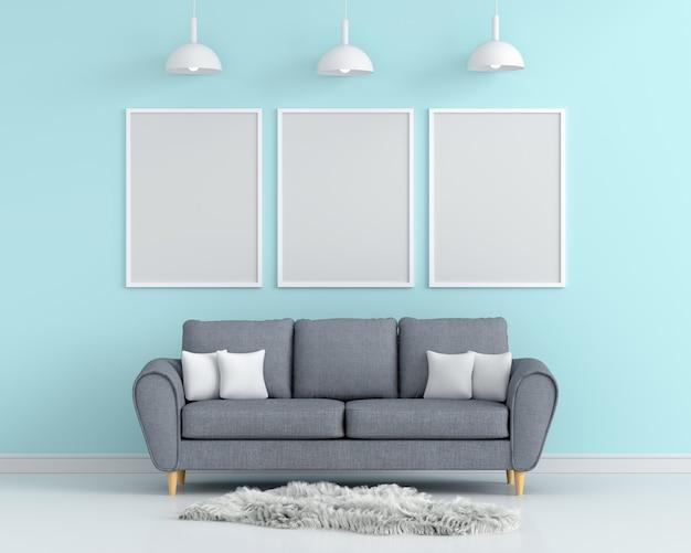 Três molduras vazias para maquete na sala de estar