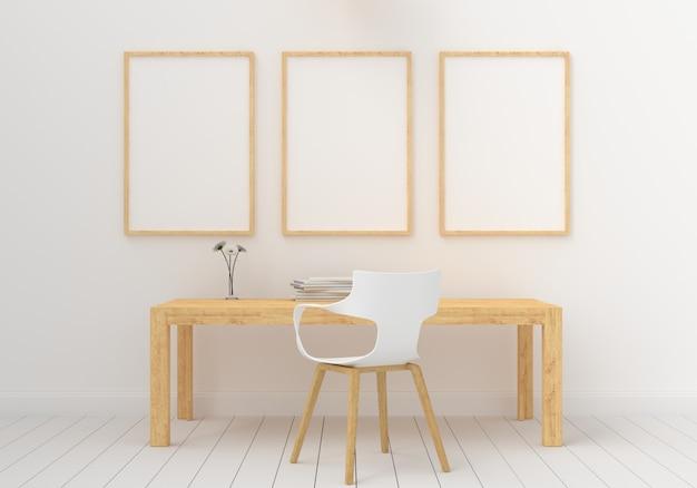Três molduras vazias para maquete no quarto branco