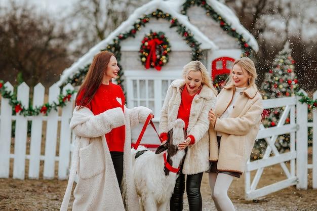 Três mulheres posando com um pequeno touro contra um rancho decorado sob a neve.