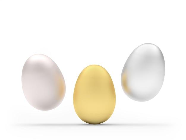 Três ovos de páscoa em ouro e prata
