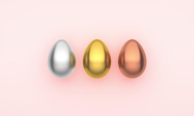 Três ovos de páscoa em uma rosa
