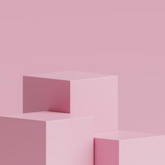 Três palco rosa pódio suporte em rosa