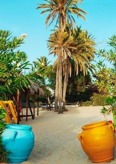 Três palmeiras altas na areia da praia.