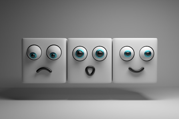 Três personagens mostrando emoções