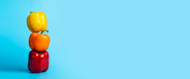 Três pimentões frescos brilhantes sobre um fundo azul. vista superior, configuração plana. bandeira.
