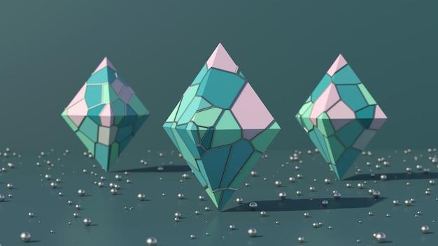 Três pirâmides com superfície colorida fundo verde de bolas metálicas ilustração abstrata