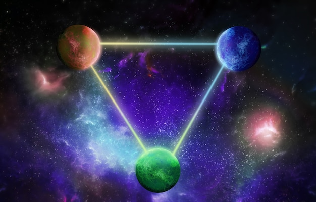 Três planetas inter-relacionados com linhas de luz no fundo cósmico